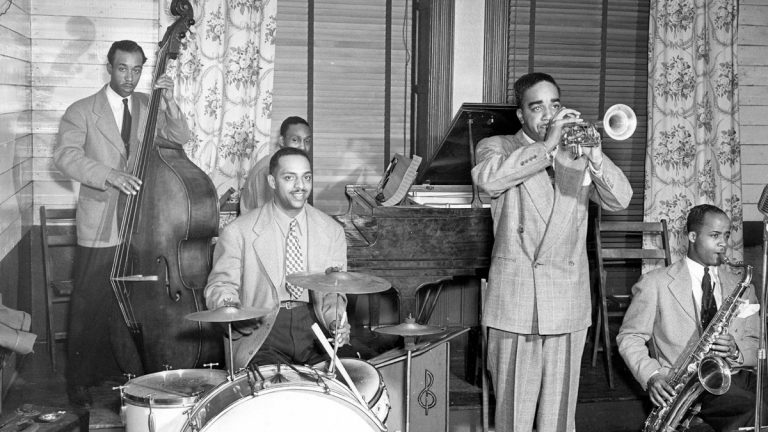 Jazz trumpeter and bandleader Charlie Gaines plays with his band in Philadelphia in 1940. (John W. Mosley/Charles L. Blockson Afro-American Collection of Temple University Libraries)