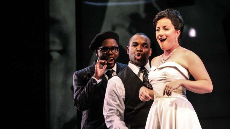 Lawrence Brownlee, Will Liverman and Rachel Sterrenberg onstage in Opera Philadelphia's performance of