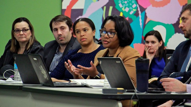 Representatives of KIPP charter schools make their case for another charter in Philadelphia. (Emma Lee/WHYY)