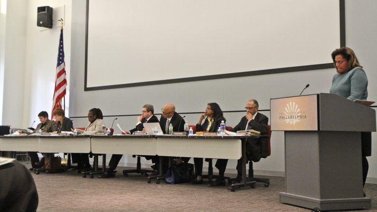 The SRC hears speaker testimony at Wednesday's charter school hearing. (Kimberly Paynter/WHYY)