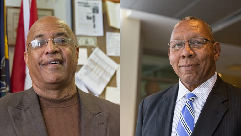 Voters rejected a second term for Reading Mayor Vaughn Spencer (left) and Chester Mayor John Linder (right), who both lost in their respecteive Democratic primaries on Tuesday. (Lindsay Lazarski/WHYY)