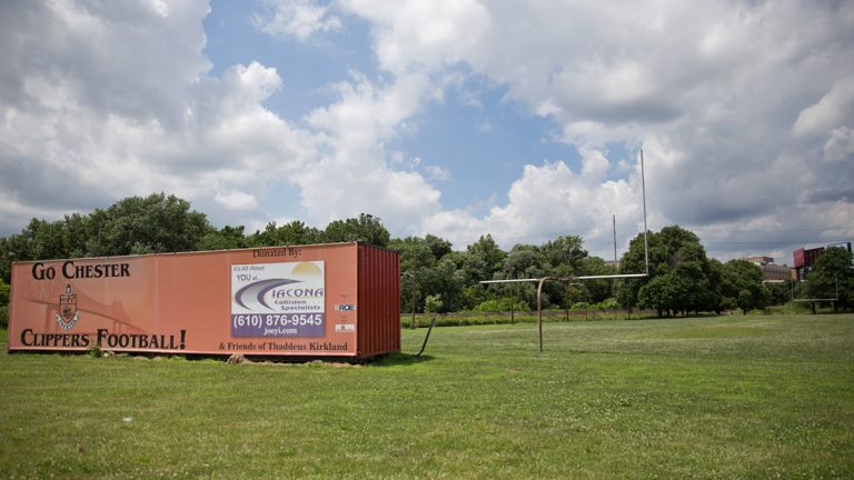 An abandoned football field next to Chester High School Main Campus.  Pennsylvania Governor Tom Corbett and the Department of Education have asked a judge to remove Joe Watkins, Chester Upland's appointed receiver.  (Lindsay Lazarski/WHYY)