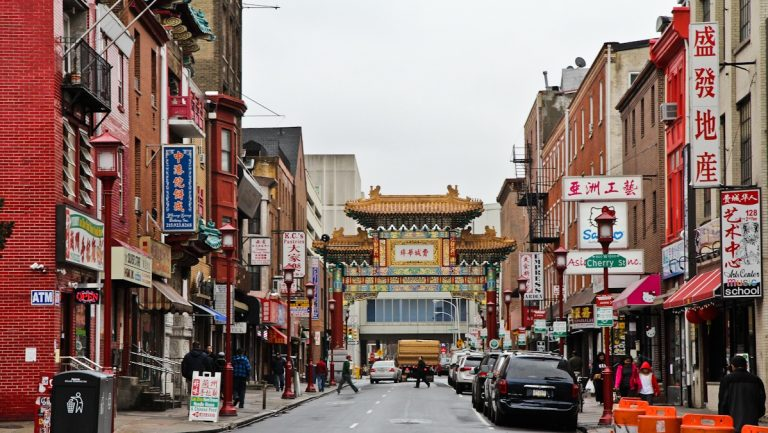 Chinatown's Friendship Gate was built in 1984 and is the first authentic Chinese gate built in America by artisans from China. (Kimberly Paynter/WHYY)