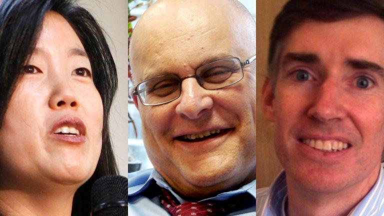 From left: Michelle Rhee (AP Photo, file), Jeremy Nowak, Mark Gleason (NewsWorks, file)