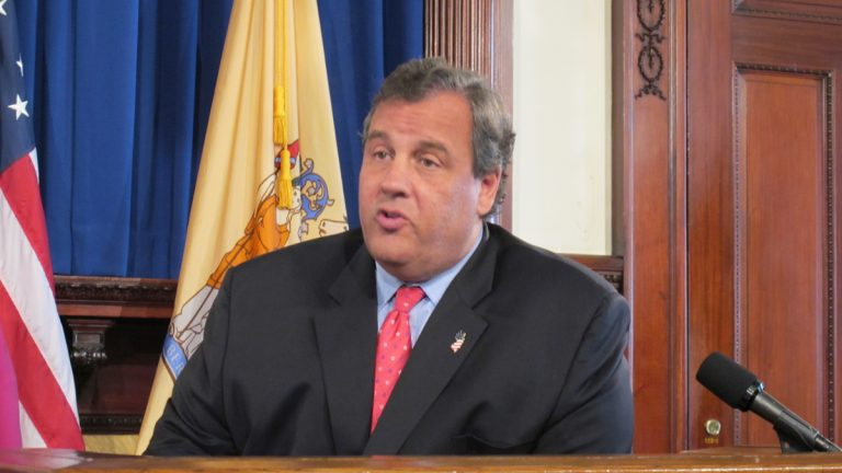 At a New Jersey Statehouse news conference, Gov. Chris Christie defends using federal Sandy aid to help restore businesses in Seaside Park and Seaside Heights that were damaged by last week's fire. (Phil Gregory/for NewsWorks)