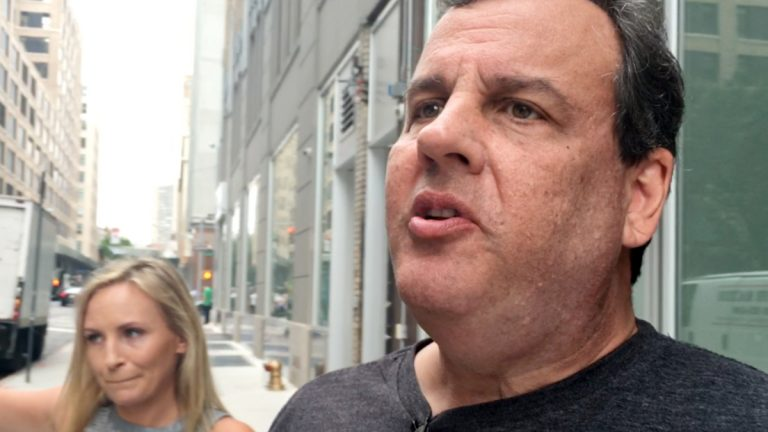 New Jersey Gov. Chris Christie speaks to reporters after appearing on a sports talk radio show in New York