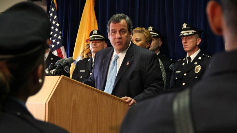 Gov. Chris Christie addresses members of the Camden County police force. (Emma Lee/WHYY)