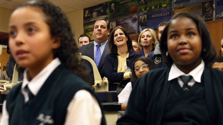 N.J. Gov. Chris Christie is shown visiting a sixth grade class at the Robert Treat Academy charter school in Newark, N.J. (AP Photo/Mel Evans, file)
