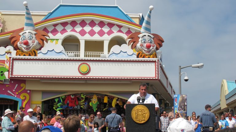 N.J. Gov. Chris  Christie discusses the summer tourism season on the boardwalk in Point Pleasant Beach. (Phil Gregory/for NewsWorks)