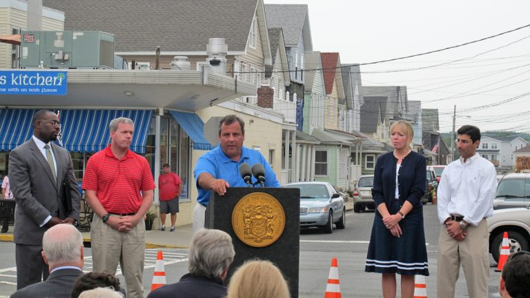 Gov. Chris Christie urges small businesses to take advantage of grants and loans to recover from Hurricane Sandy in Sea Bright, N.J., Wednesday, Aug. 28, 2013.  (Phil Gregory/WHYY)