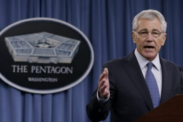 Defense Secretary Chuck Hagel briefs reporters at the Pentagon, Monday, Feb. 24, 2014, where he recommended shrinking the Army to its smallest size since the buildup to U.S. involvement in World War II in an effort to balance postwar defense needs with budget realities. (AP Photo/Carolyn Kaster)