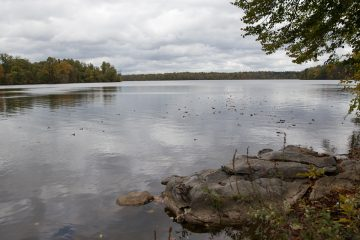 Lake Ontaulanee provides 13-14 million gallons of water per day for Reading city residents. The city has debated selling or leasing out the water system to pay off debts. (Lindsay Lazarski/WHYY)