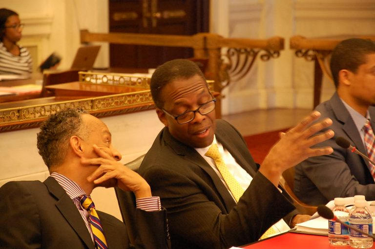 Council President Darrell Clarke would like Philadelphia companies and businesses to have further preference when the city awards contracts. (Tom MacDonald/WHYY)