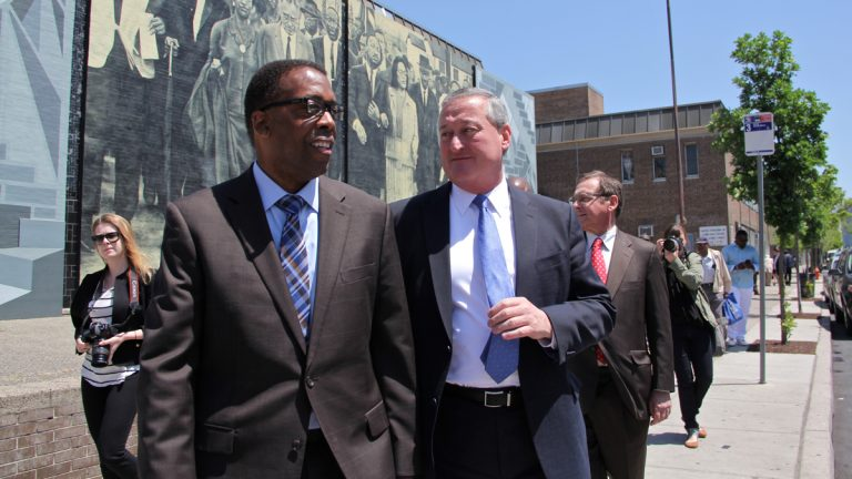 City Council President Darrell Clarke announced his support of Jim Kenney's mayoral candidacy on Thursday afternoon. (Emma Lee/WHYY)