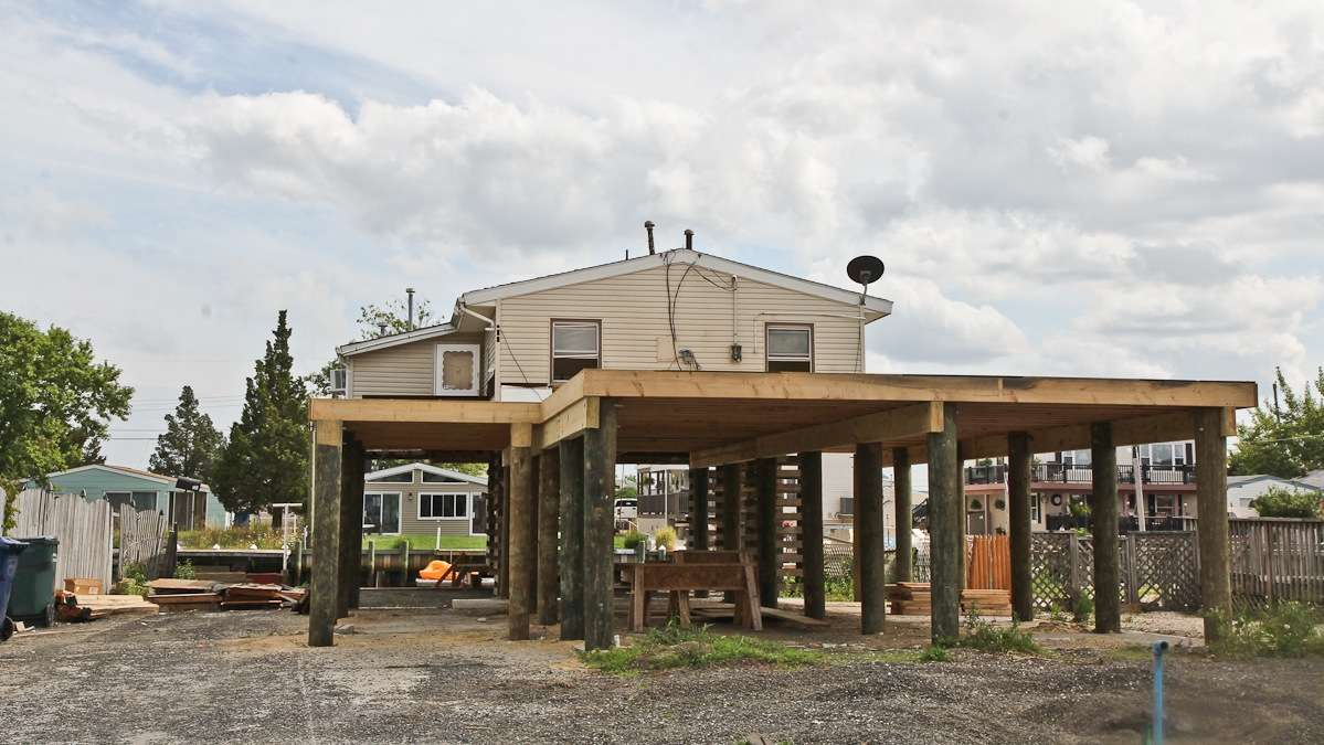 A home is raised in Tuckerton