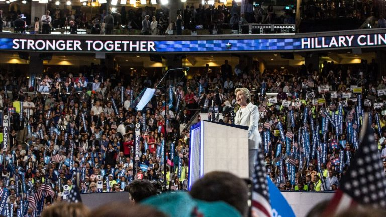 Hillary Clinton accepts the Democratic Party nomination for President of the United States Thursday evening. (Kimberly Paynter/WHYY)