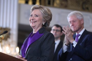 Democratic presidential candidate Hillary Clinton speaks in New York