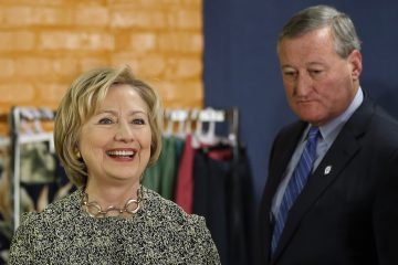 Hillary Clinton is shown during a presidential campaign top with Philadelphia Mayor Jim Kenney in April 2016. Both are Democrats