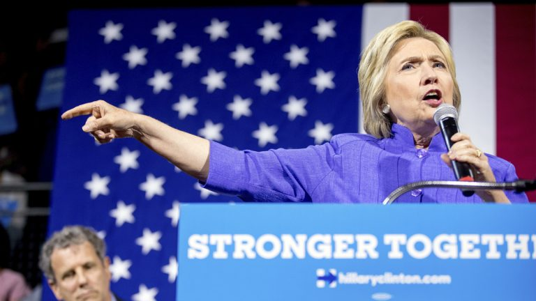 Democratic presidential candidate Hillary Clinton is shown at a rally in Cincinnati. (AP Photo/Andrew Harnik