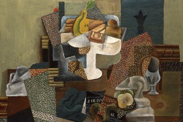 An exhibit examining the dramatic fluctuations of Pablo Picasso's style during the period surrounding the First World War, from 1912 to 1924 opens at the Barnes Foundation, February 21. Pictured: Pablo Picasso (Spanish, 1881 - 1973). Still Life with Compote and Glass, 1914–15. Oil on canvas, 25 x 31