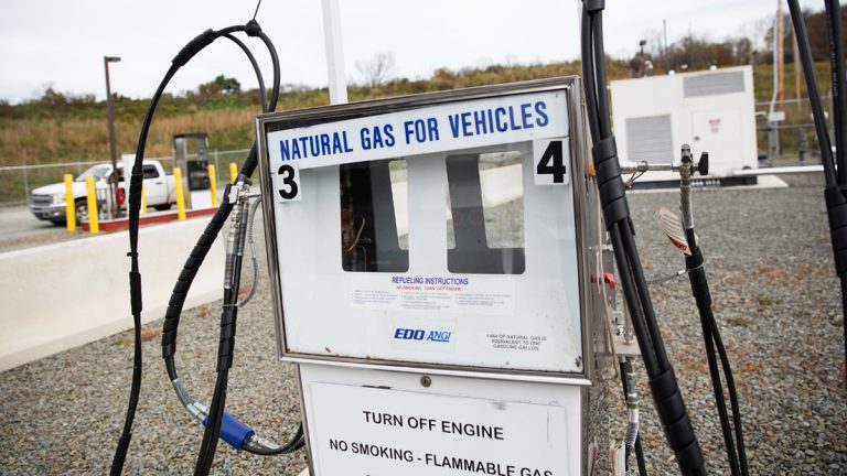 A Cabot Oil & Gas compressed natural gas station fuels company trucks and fleets, but is not open to the public in Susquehanna County, Pa. (Lindsay Lazarski/WHYY)
