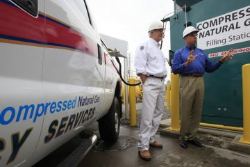 This CNG fueling station at U. S. Steel's Irvin Plant services a fleet of CNG vehicles used throughout western Pa. and Ind. (Photo courtesy of U. S. Steel/PRNewsFoto/United States Steel Corporation)