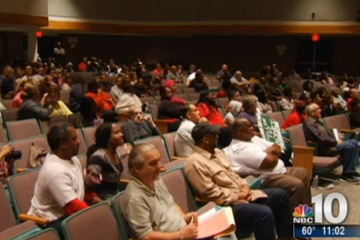 Residents at a meeting Monday about the racist texting controversy. (Courtesy NBC10)