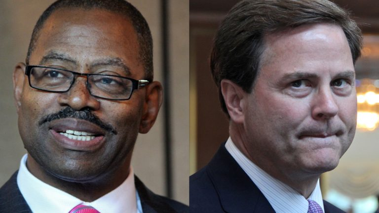 Republican Garry Cobb (left), and Democrat Donald Norcross are running to represent New Jersey's 1st Congressional District. (Emma Lee/WHYY)