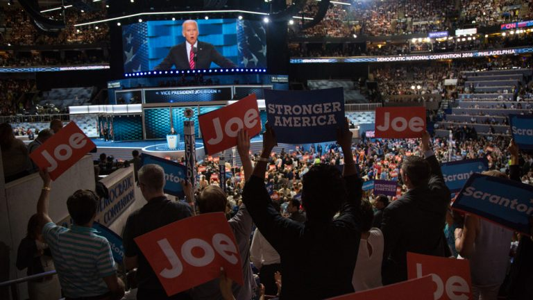 Vice President Joe Biden addresses the crowd of delegates on the third night of the 2016 Democratic National Convention. (Emily Cohen for NewsWorks)