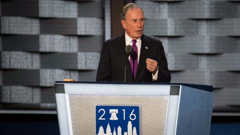 Self-declared Independent Michael Bloomberg addresses the crowd at the 2016 Democratic National Convention. (Emily Cohen for NewsWorks)