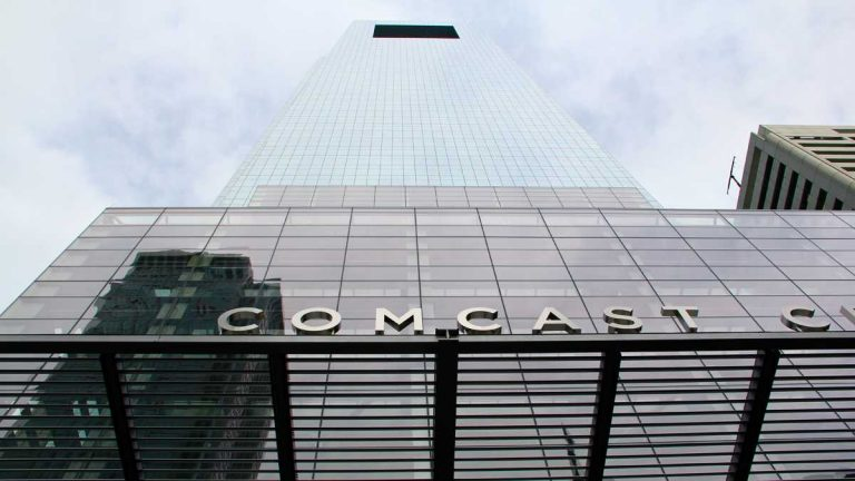 Comcast and Liberty Property Trust got $42.75 million in state aid to build the Comcast Center in Philadelphia and create 1,350 jobs during Governor Ed Rendell's administration. (Emma Lee/Newsworks)