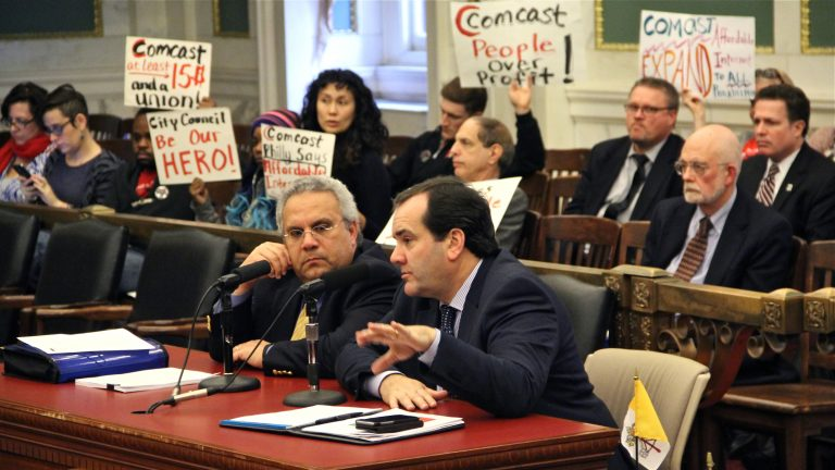 Comcast's Senior Vice President of Government and Regulatory Relations Mark Reilly testifies in City Council about the cable giant's franchise renewal contract. (Emma Lee/WHYY)