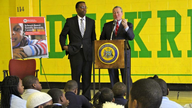 Philadelphia Council President Darrell Clarke and Mayor Jim Kenney convened at Duckrey Tanner School in  November to talk about the creation of community schools. (Emma Lee/WHYY)