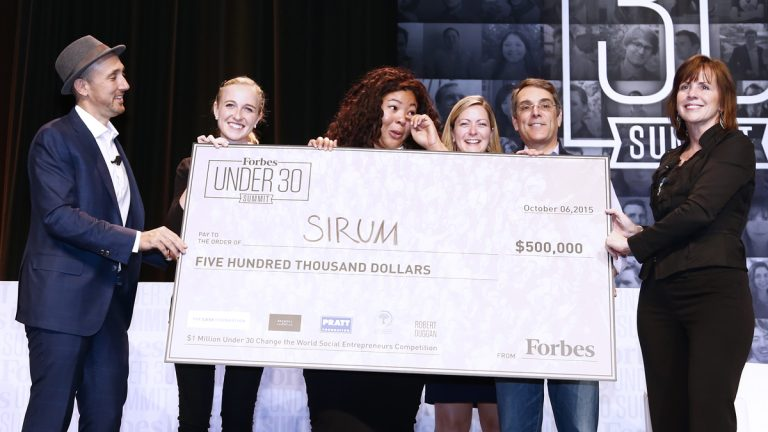 Kiah Williams and team receive the top prize in Forbes' 'Change the World Competition.' (Glen Davis/Forbes)