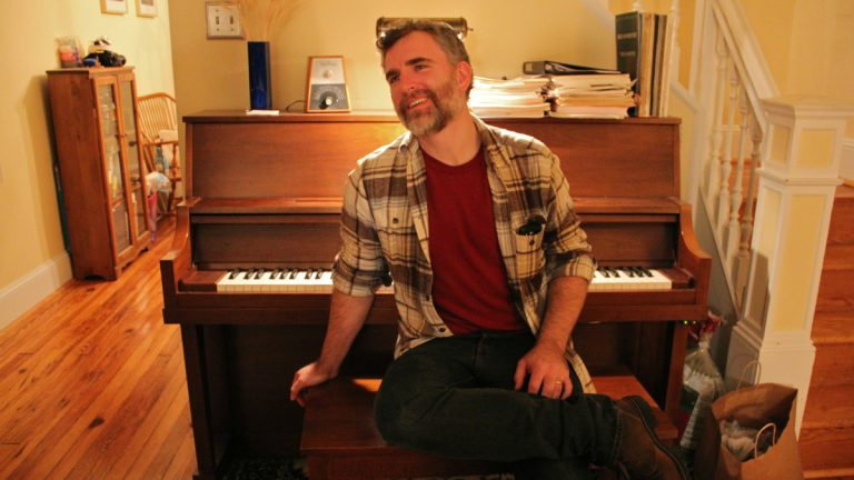 Josh Stamper composed 'Rivers,' a work for prepared piano and prepared cello inspired by the Schuylkill and Delaware rivers. (Emma Lee/WHYY)