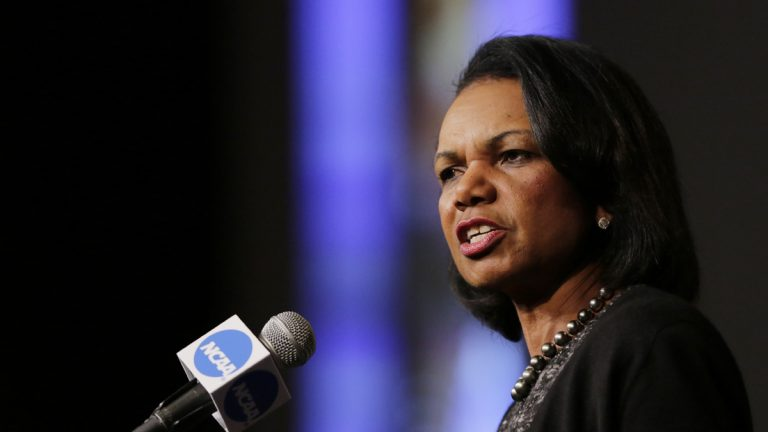 Former Secretary of State Condoleeza Rice has turned down a request to run an independent bid for president. She is shown speaking at an NCAA Convention luncheon in January. (AP Photo/Eric Gay
