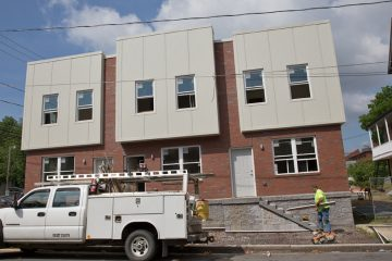 New construction in the South Allison Hills neighborhood in Harrisburg, Pa. Pennsylvania has a unique law that slows — and even stops — changes to the state building code.  (Lindsay Lazarski/WHYY)
