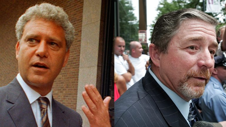 Former Philadelphia City Councilmen Leland Beloff in 1987 (left) and Rick Mariano in 2006. (AP file photos)