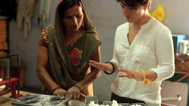 Molly Hayward (right) works with Indian manufacturers in hopes of empowering a new generation of young women. (Courtesy Cora 2014)