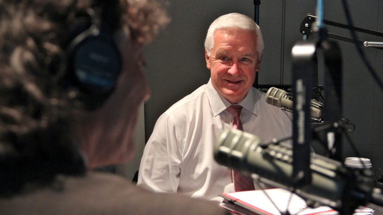 Pa. Gov. Tom Corbett talks with Dave Heller at WHYY studios. (Emma Lee/WHYY)