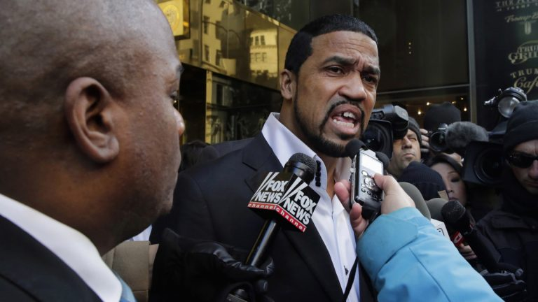 Pastor Darrell Scott speaks to the members of the media outside Trump Tower in New York, Monday, Nov. 30, 2015.   (AP Photo/Richard Drew)