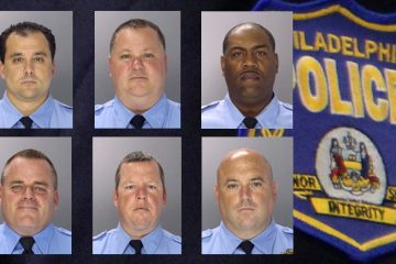 The trial of six former Philadelphia police officers accused of corruption began Monday. They are (clockwise from top left) Thomas Liciardello, Perry Betts, Norman Linwood, John Speiser, Brian Reynolds, and Michael Spicer.