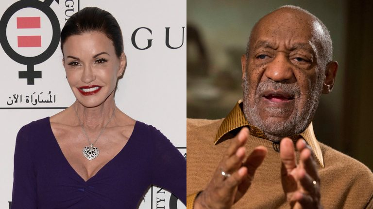 Janice Dickinson (left) says comedian Bill Cosby defamed her when he denied raping her. (AP file photos)