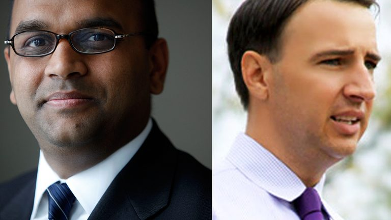 Manan Trivedi (left) and Ryan Costello are running for Congress in Pennsylvania's 6th Congressional District. (Matt Rourke/AP Photo and ryancostelloforcongress.com)