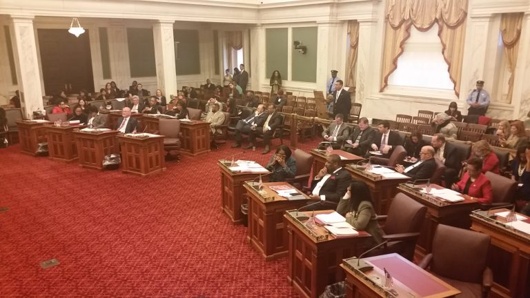 Philadelphia City Council members discuss increasing the annual fee for registering vacant properties from $150 to $300. (Tom MacDonald/WHYY)