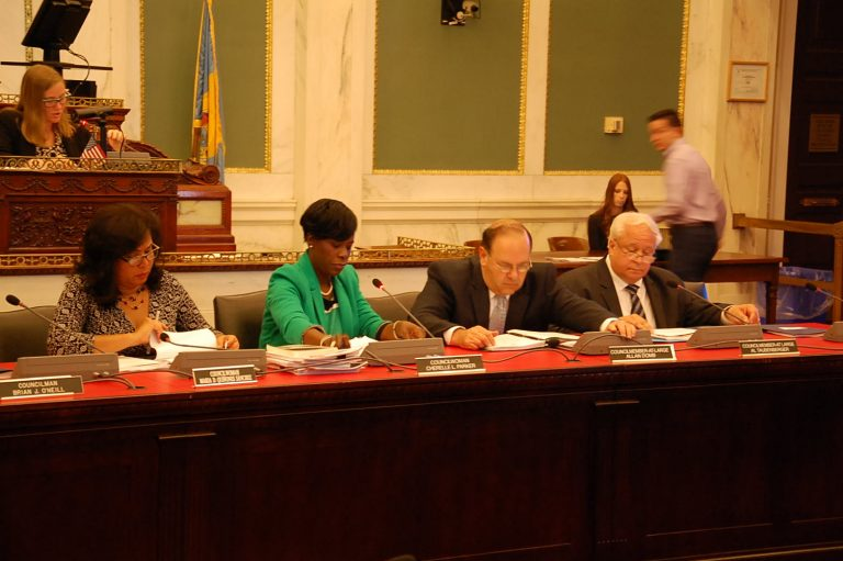 Philadelphia City Council members get an update on pensions Wednesday. (Tom MacDonald/WHYY)