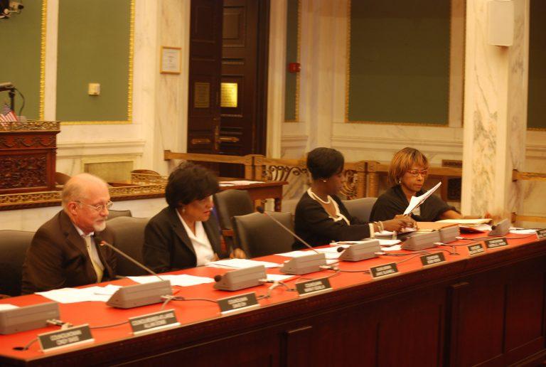 City Council members hear testimony on the KOZ bill. (Tom MacDonald/WHYY)