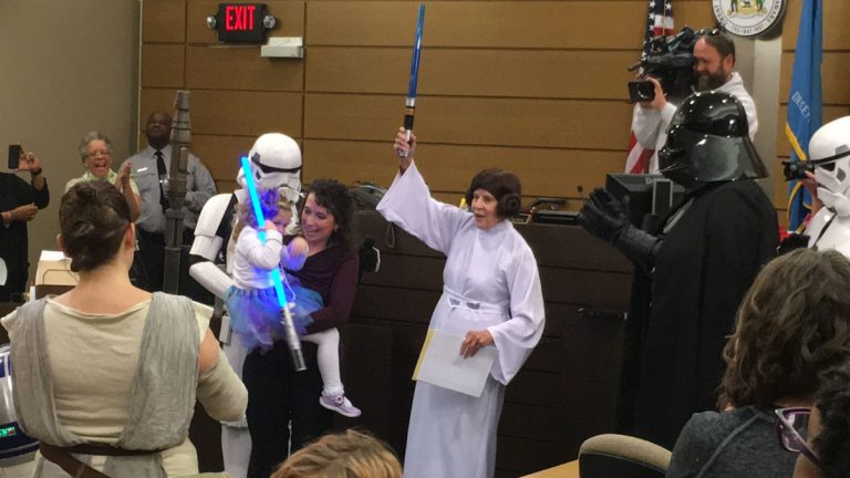 Delaware Family Court Judge Barbara Crowell dressed as Princess Leia as part of a Star Wars-themed adoption ceremony  at the New Castle County Courthouse Friday afternoon. (Mark Eichmann/WHYY)