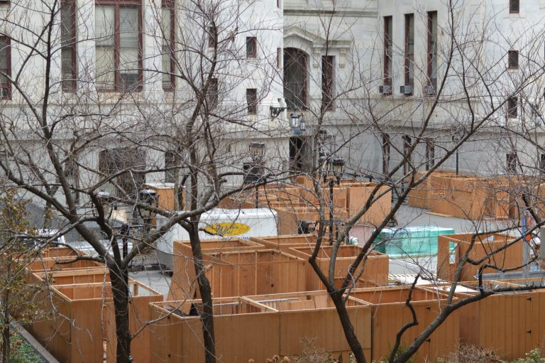 Philadelphia City Hall Courtyard currently is closed with disassembly of holiday market underway (Tom MacDonald/WHYY)