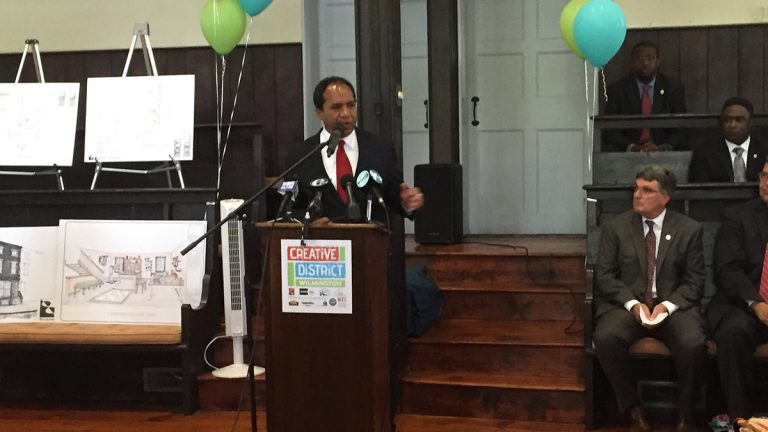 Mayor Dennis Williams spoke during the launch of a project designed to renovate vacant homes into affordable housing. (Zoe Read/WHYY)